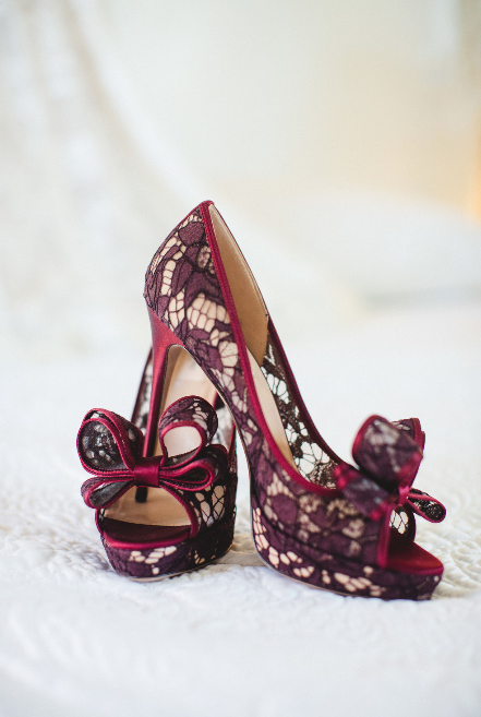 Kirstie and Carlos were married at the  Mansion on Forsyth Park  in December. Their wedding had a glam Gatsby style vibe with a color palette of deep reds, golds and blacks. Her shoes were so totally fitting of her glamorous look and she rocked them so fabulously.