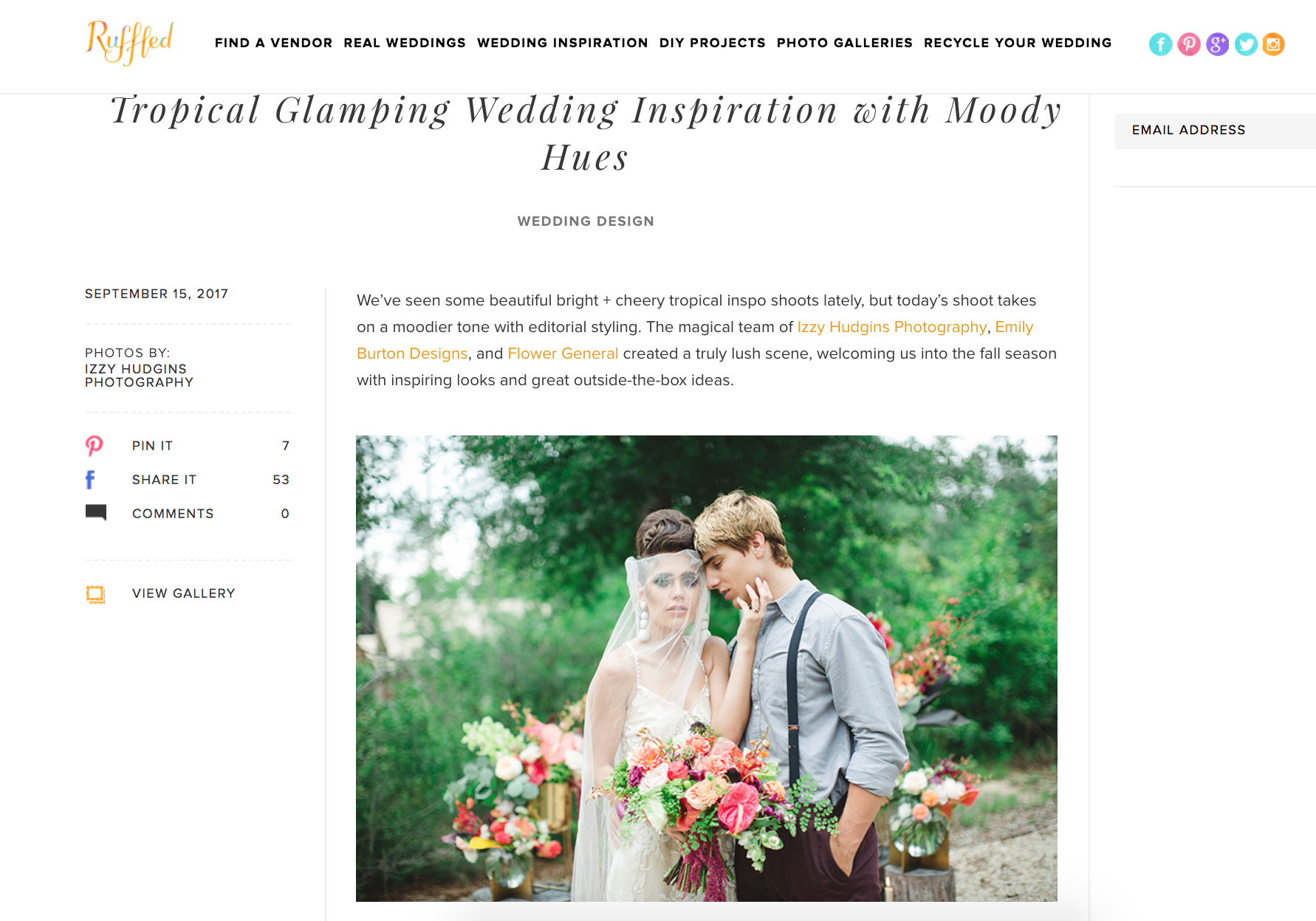 This shoot was featured on Ruffled! Check it out here .