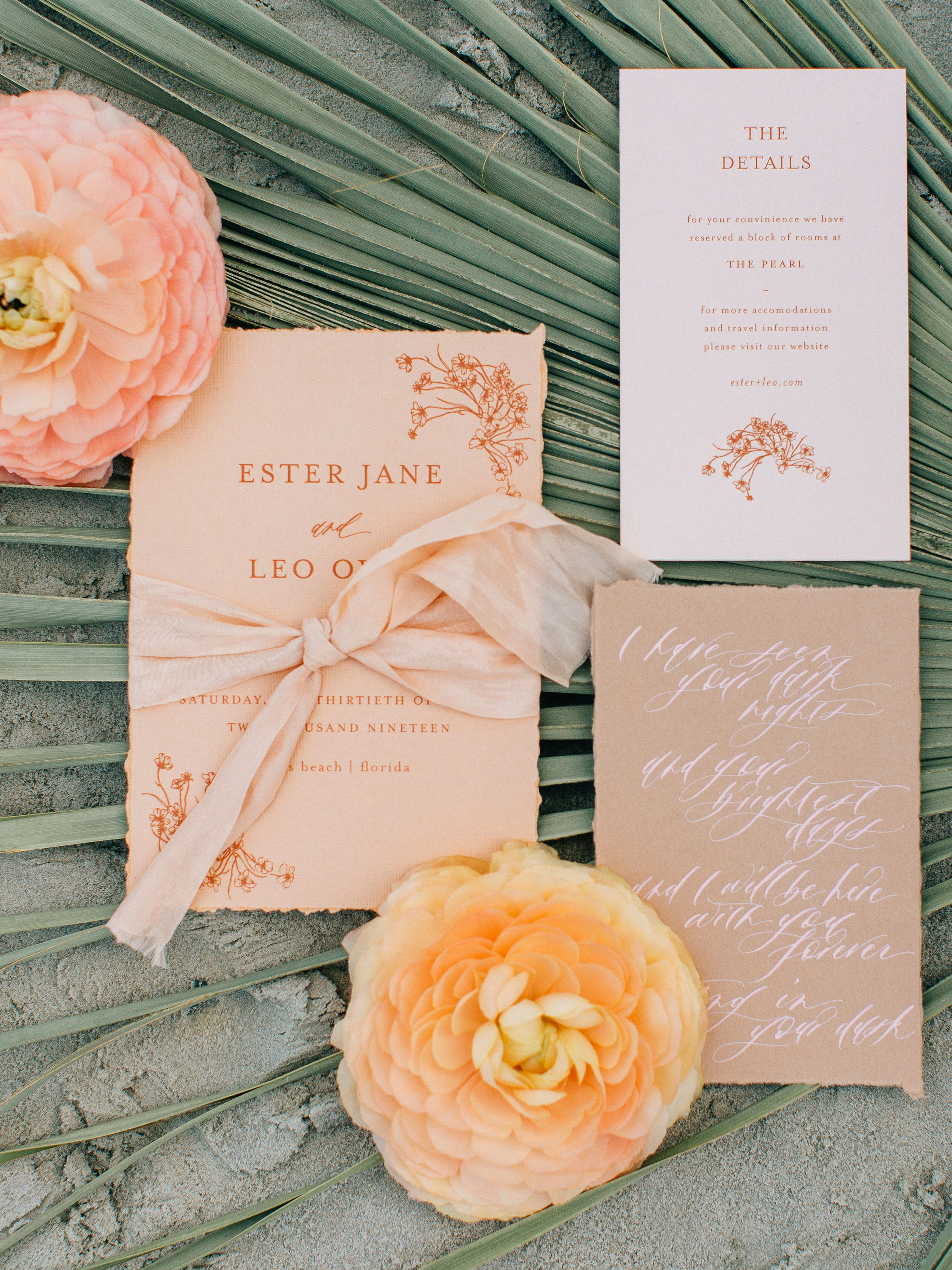 These gorgeous calligraphy invitations are the perfect way to add a touch of personality to your wedding! We love how they incorporated the couple's color scheme into the invites.