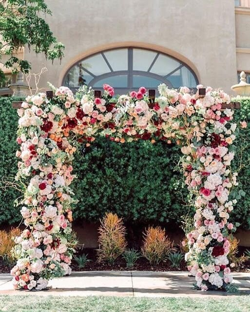 Ceremony Arch - BUDGET: $1,000Pinterest Inspiration Photo: Full square frame completely covered in blooms with greenery