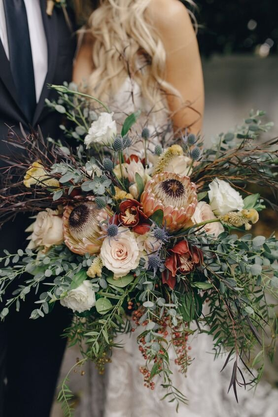 Bridal Bouquet - BUDGET: $150Pinterest Inspiration Photo: Full boho asymmetrical bouquet with blooms and greenery