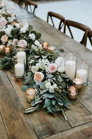 Garland Centerpiece - BUDGET: $80Pinterest Inspiration Photo: Full garland of greenery (*blooms are extra)