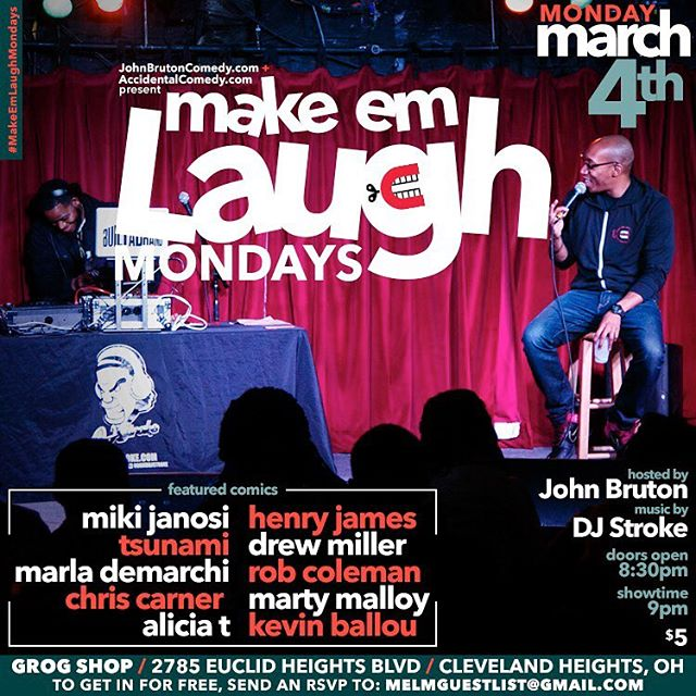 See you tonight at #MakeEmLaughMondays at @thegrogshop  @johnbruton is the host, @djstroke is the DJs. 8:30pm, $5