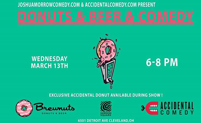 We have a special surprise at our Brewnuts show tonight! We have performances by Faye Fastbender, @itslizblanc , @rajdoescomedy, my co-host Joshua Morrow AND I will be doing a special presentation of a picture book I made for one of our comedians. Be there at 6p for this free show, grab a donut, and hang out with us!