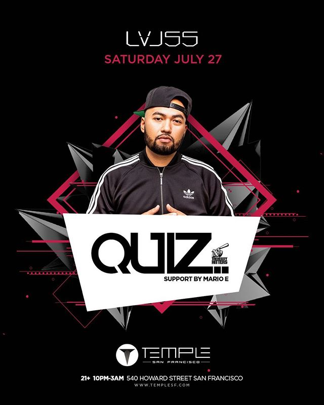 Temple, SF this Saturday @lvl55sf Need my Bay Area fam to pull up on the boy. #djquiz #theheavyhitterdjs #skamartist