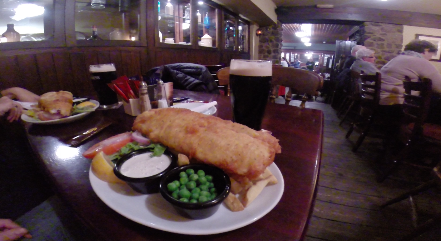 Greasy fish and chips - the best kind of pub food