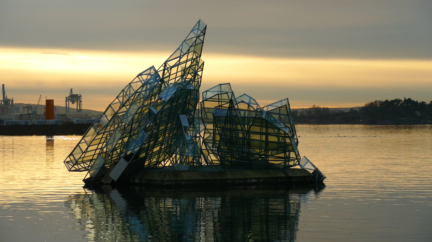 Scuplture titled  She Lies by Monica Bonvicini in the harbor, as seen from the Oslo Opera House