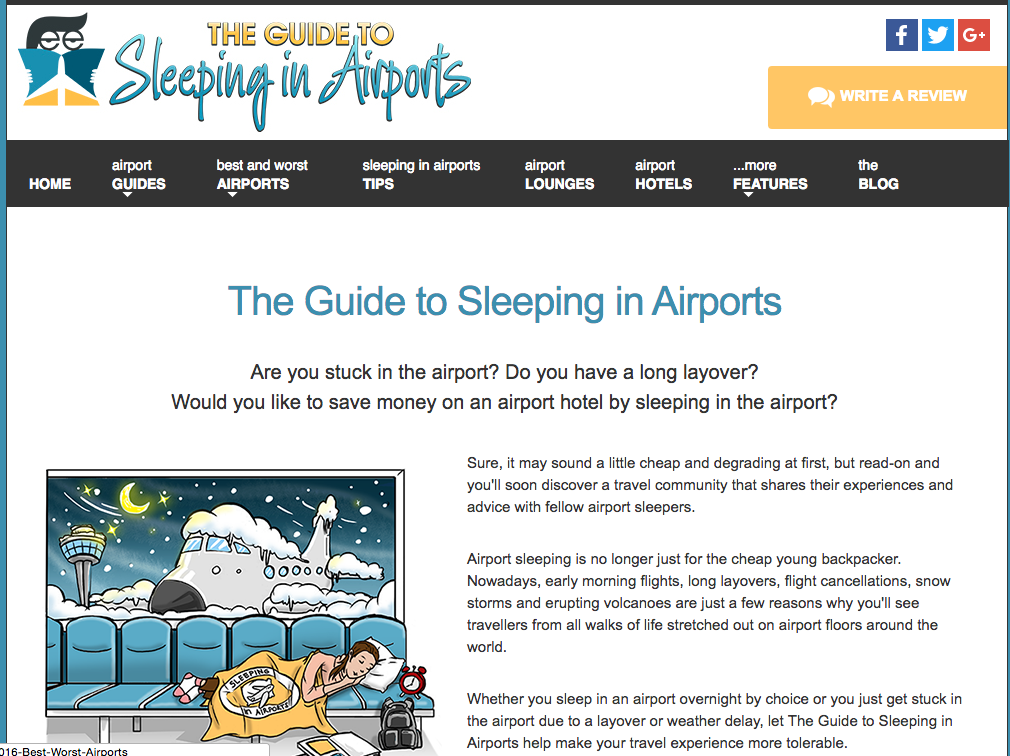 Sleeping in Airports is not my favorite pastime, but it saves money and can be hugely practical