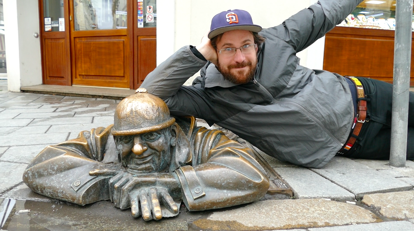 If you're coming to Bratislava, snap a quick photo with this guy (the statue, not Dennis) and then jump back on your train outta here.