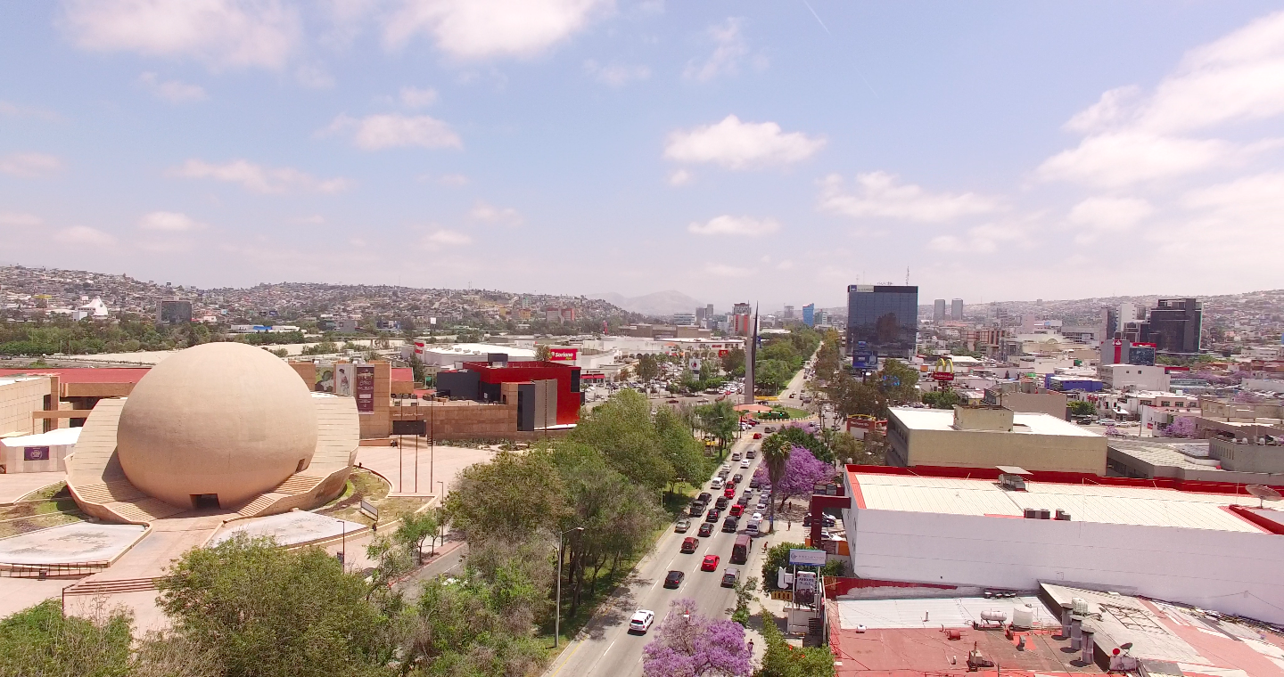 An aerial survey of CECUT Cultural Center and downtown Tijuana