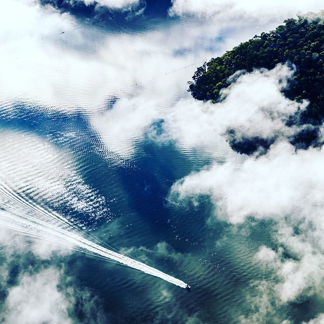 The Hawkesbury from this weeks helicopter shoot for Art Pharmacy #artpharmacy #blueskyhelicopters #hawkesburyriver #aerial #clouds #boating #australianlandscape