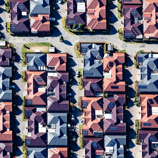 Housing development near Castle Hill for Art Pharmacy #artpharmacy #blueskyhelicopters #castlehill #abstractphotography #aerial #aerialphotography #housing #roofs