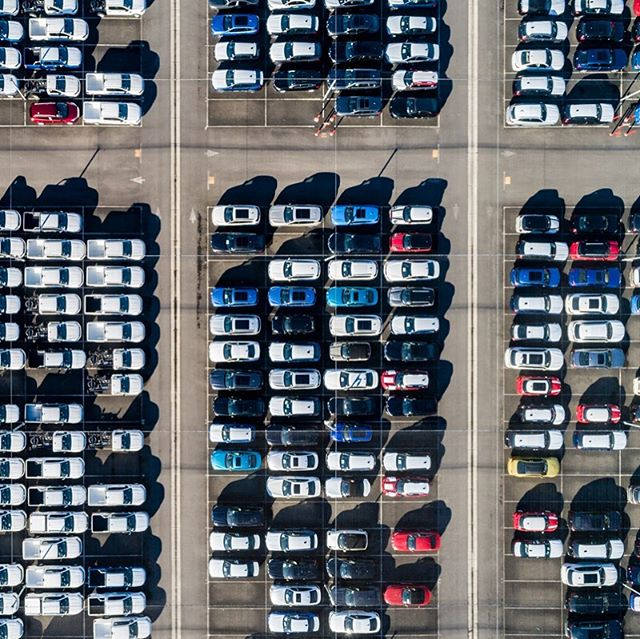 New car logistic storage. #abstractphotography #industrialabstract #drone  #carpark  #cars #storage #logistics