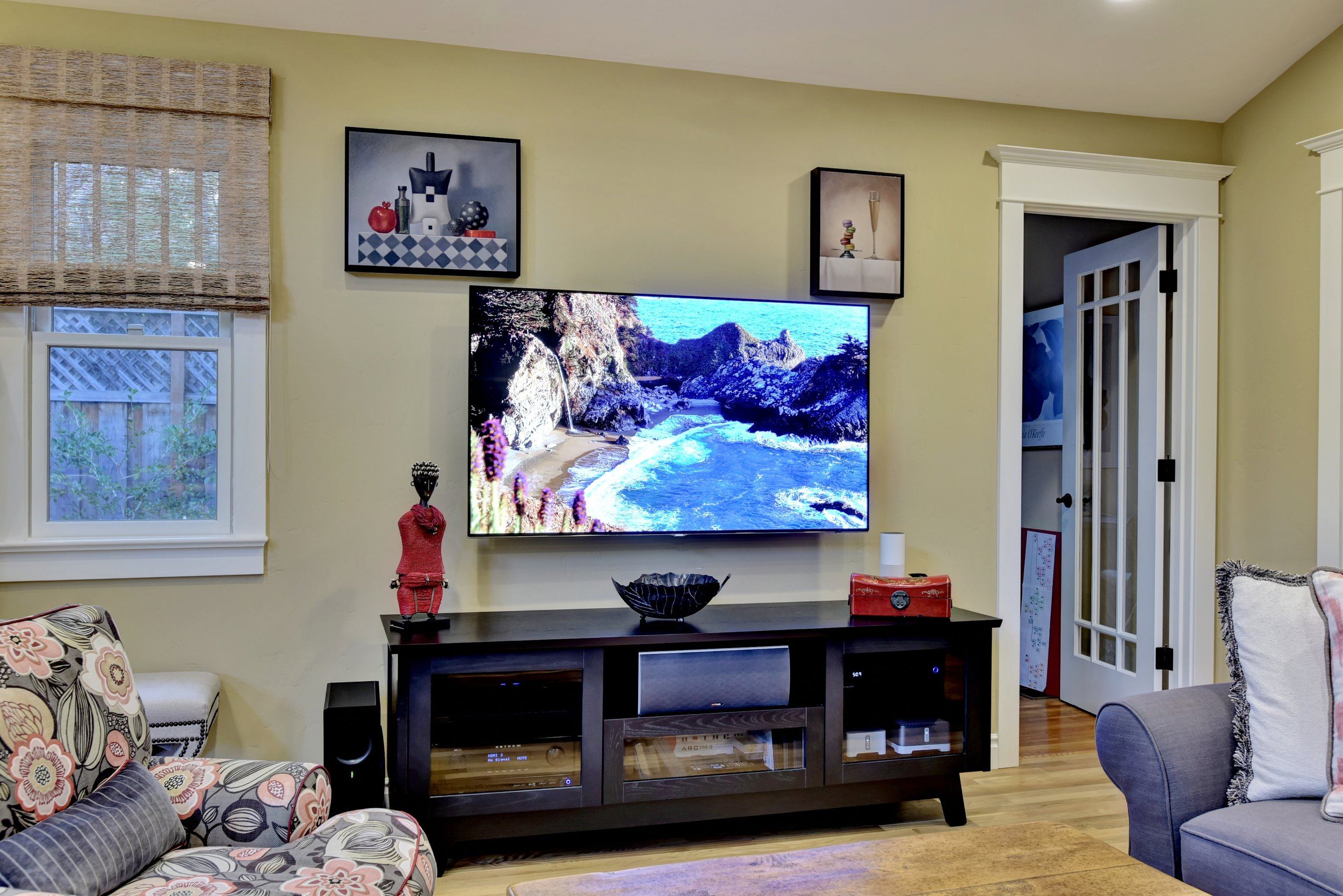 Samsung 65-inch 4k UHD LED TV with Anthem MRX-520 AV receiver housed in a Salamander AV cabinet media center
