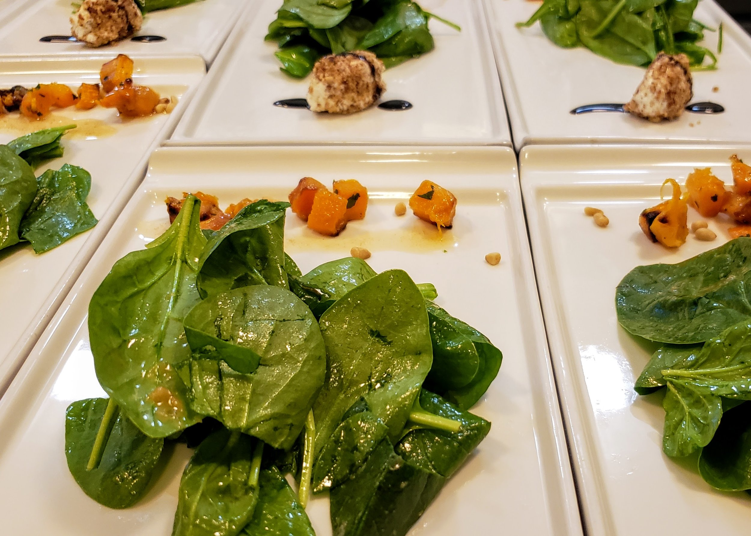 Baby Spinach & Roasted Squash Salad  Pecan Crusted Chevre, Brown Butter Pine Nuts