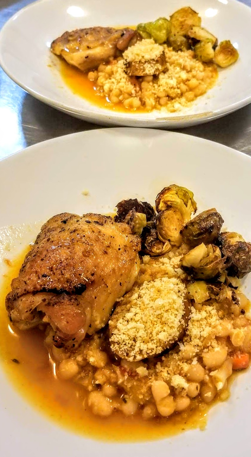 Roasted Chicken Leg  Cannellini Bean Cassoulet, Caramelized Brussels Sprouts
