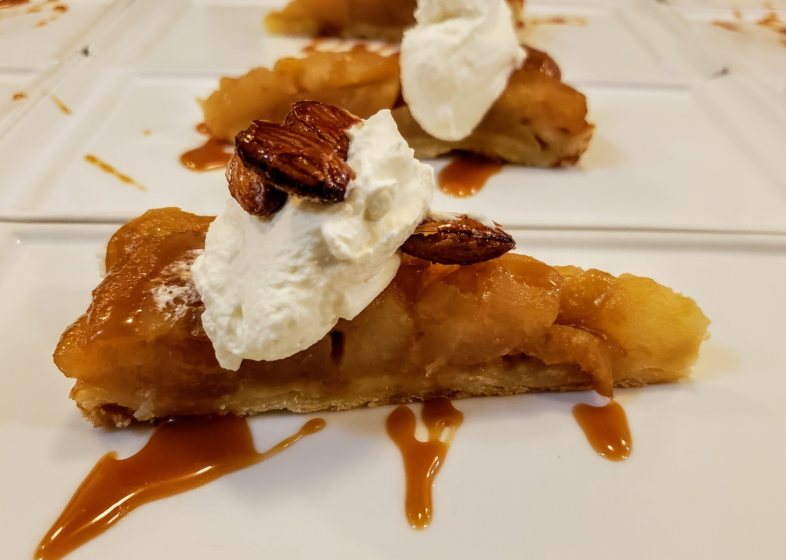 Apple Tartine  Caramel Sauce, Candied Almonds, Whipped Cream