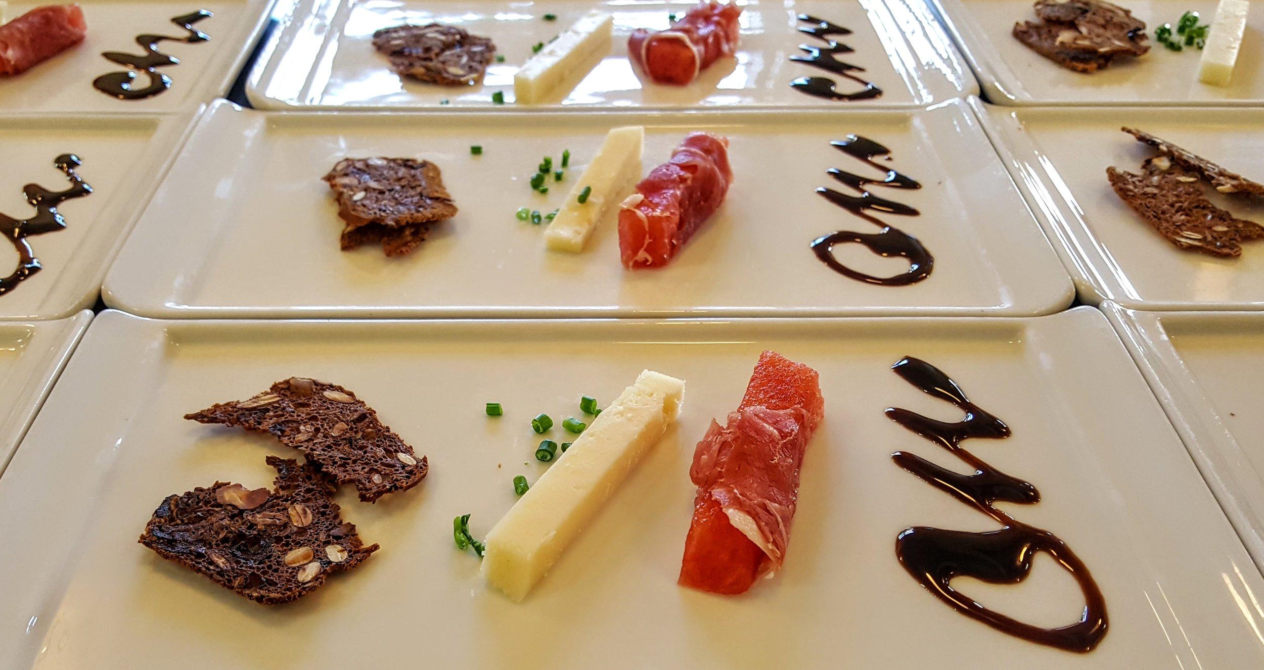 Antipasti  Prosciutto di Parma wrapped watermelon, Cougar Gold cheese