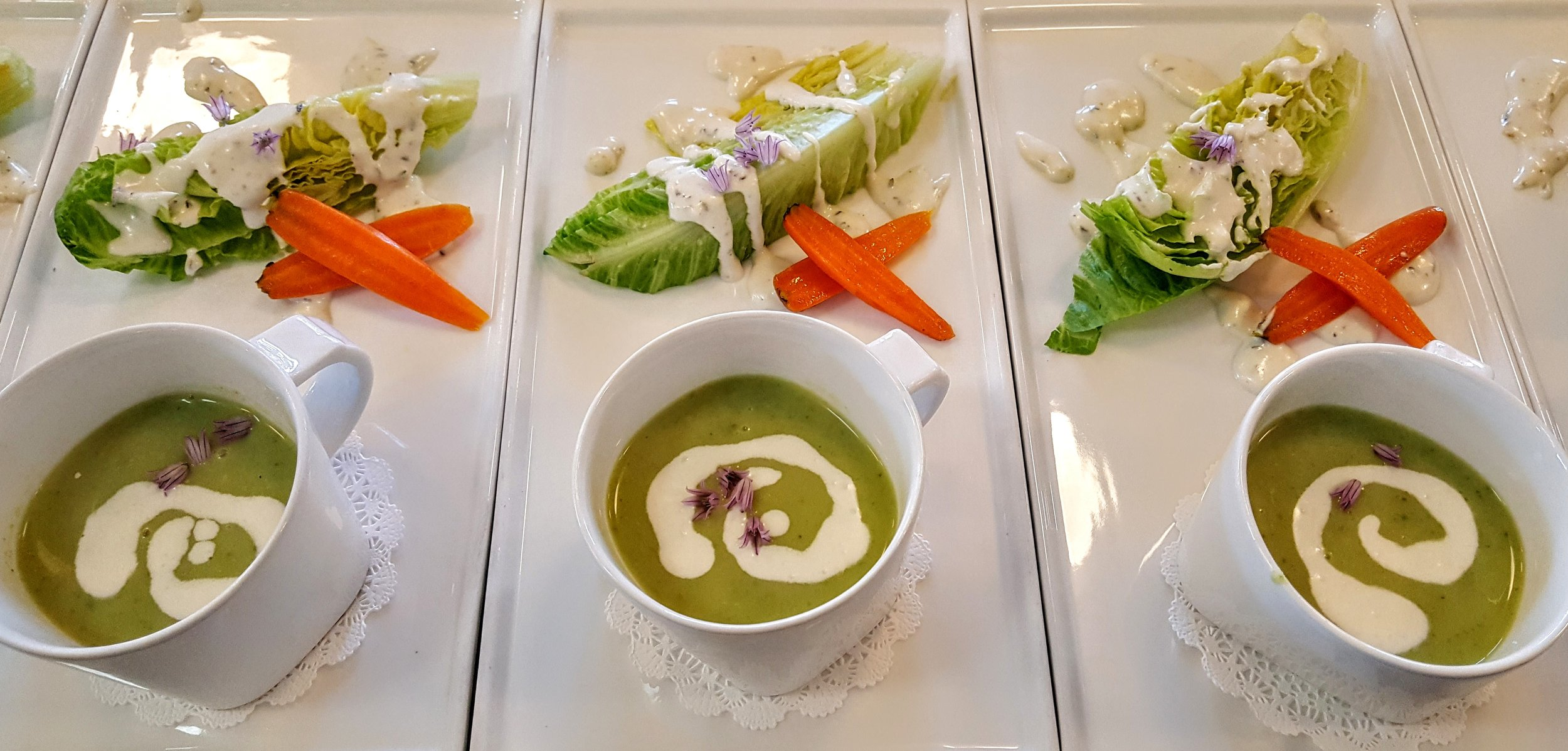 Chilled English Pea & Basil Soup  Baby carrots, baby romaine & blue cheese dressing