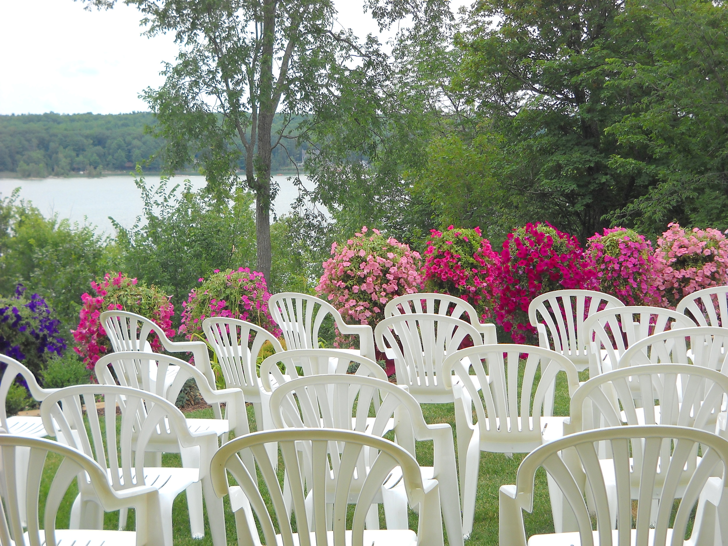 Wedding Ceremony Seating Overlooking Sandy Lake