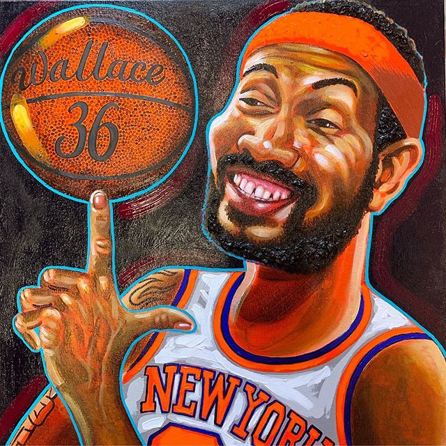 """""""Rasheed (at the) Wallace"""" 24""""x24"""" acrylic on canvas. I made this portrait of #rasheedwallace for my friends @chadvig and @laurenbrielynch1 who own @atthewallace - it is to repay a bar tab I have from a few years back and will have a place of honor behind the bar. Whenever I'm out too late in #hamiltonheights I seem to end up At The Wallace playing #giantjenga with the locals. I painted 'sheed as he is one of my top three Wallaces (also #davidfosterwallace and #wallacestevens with #wallaceandgromit as the honorable mention) #localbar #harlem #nyc #manhattan #bestbar"""