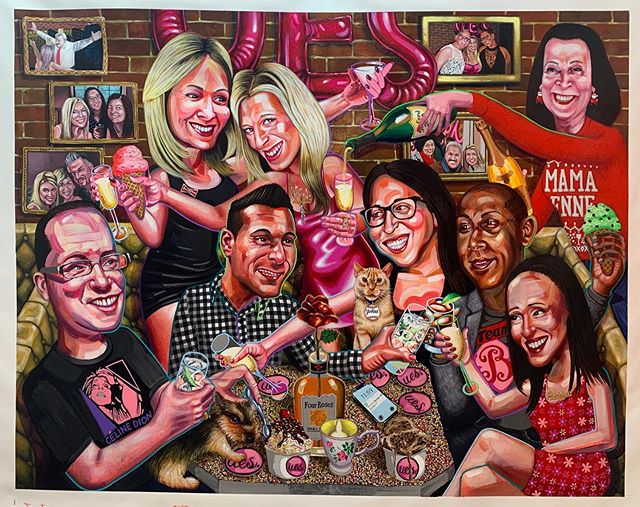 """Here is """"2018"""" a commission I made this summer for the lovely @eastsidebond - the painting is of Cortney and her dearest friends celebrating the opening of her incredible ice cream parlor / speak easy cocktail bar @theuesnyc - she is an incredible lady and it's a exquisite bar and I was so happy to make a painting for the bar a few years back and now this one for Cortney's home. Cheers to Cortney!! #ues #uppereastside #manhattan #cocktail #icecream #bestbar"""