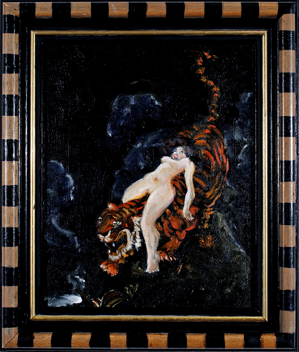 Girl on Tiger, oil on canvas and frame