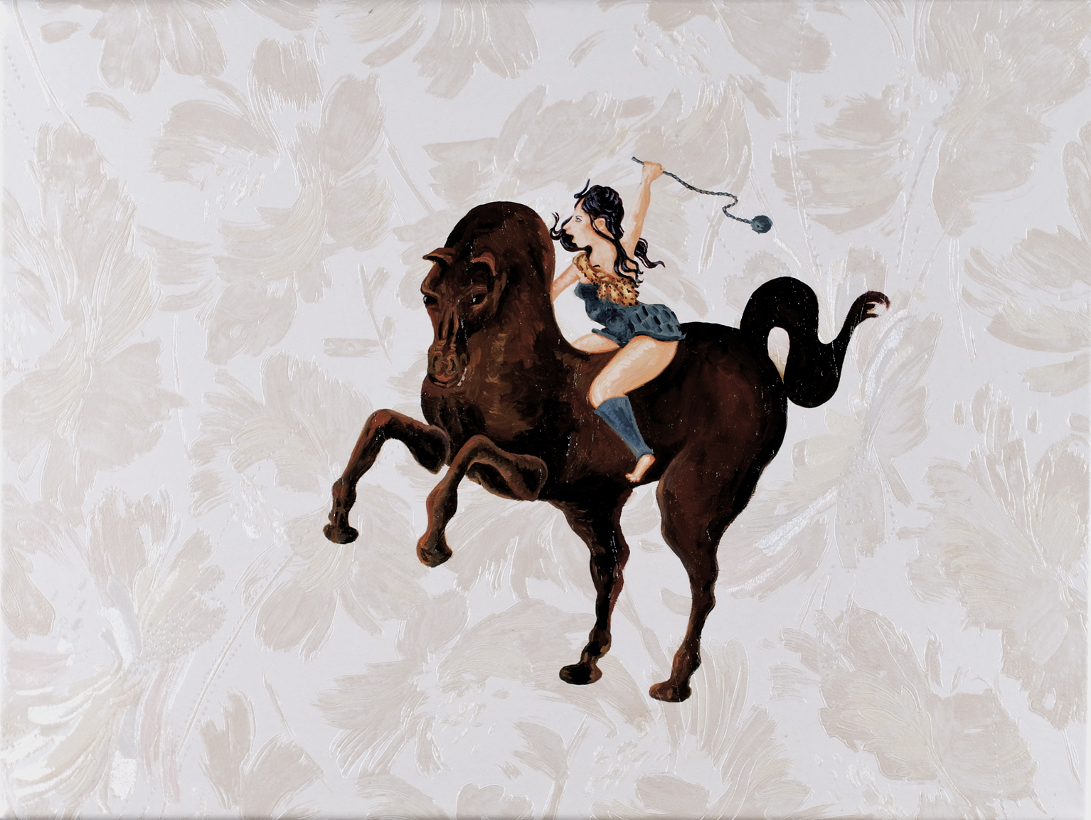Woman Rider, oil on wall paper on canvas