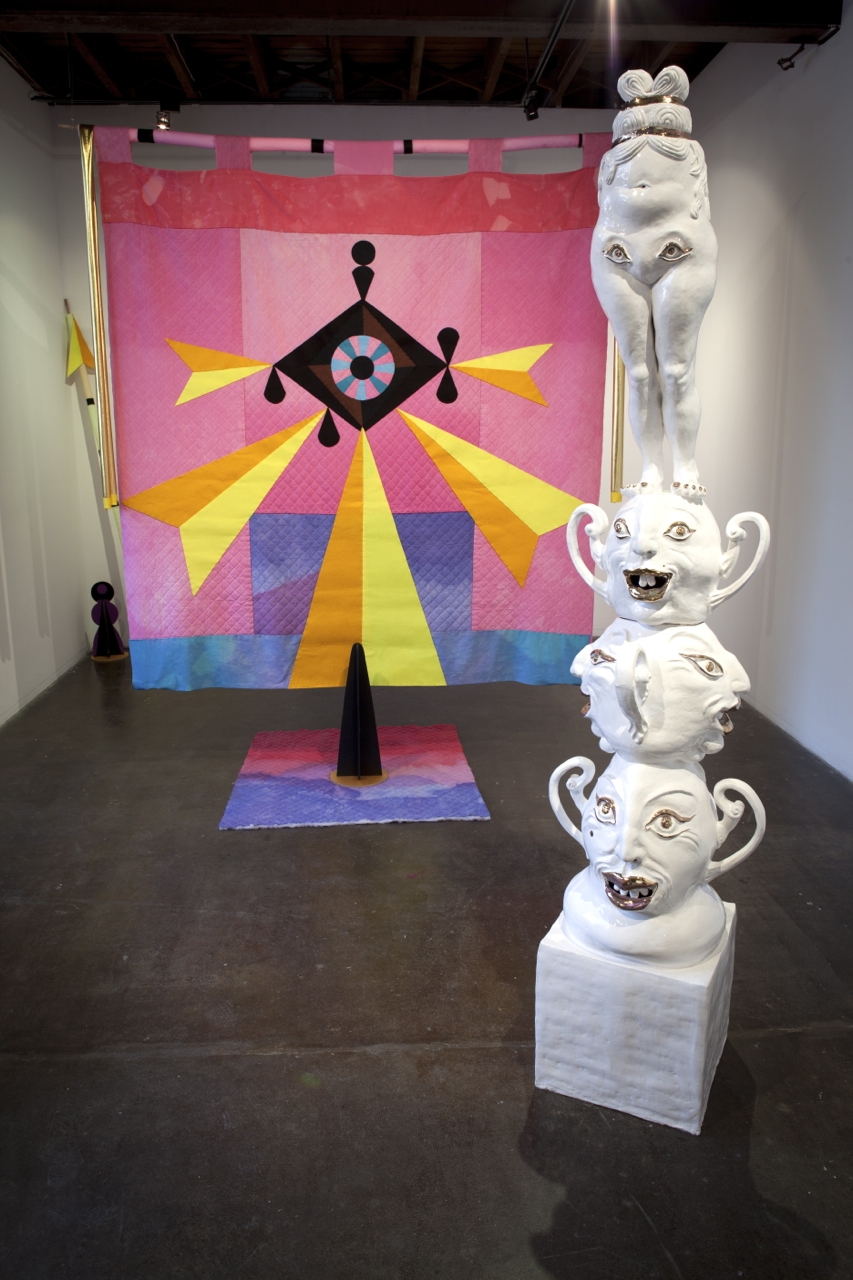 The Golden Flower Pot: a Psychedelic Temple, 2016 Strange Neighbour, Melbourne,Banner by Ali Noble, Ceramic by Cybele Cox with sound by Adam Cox