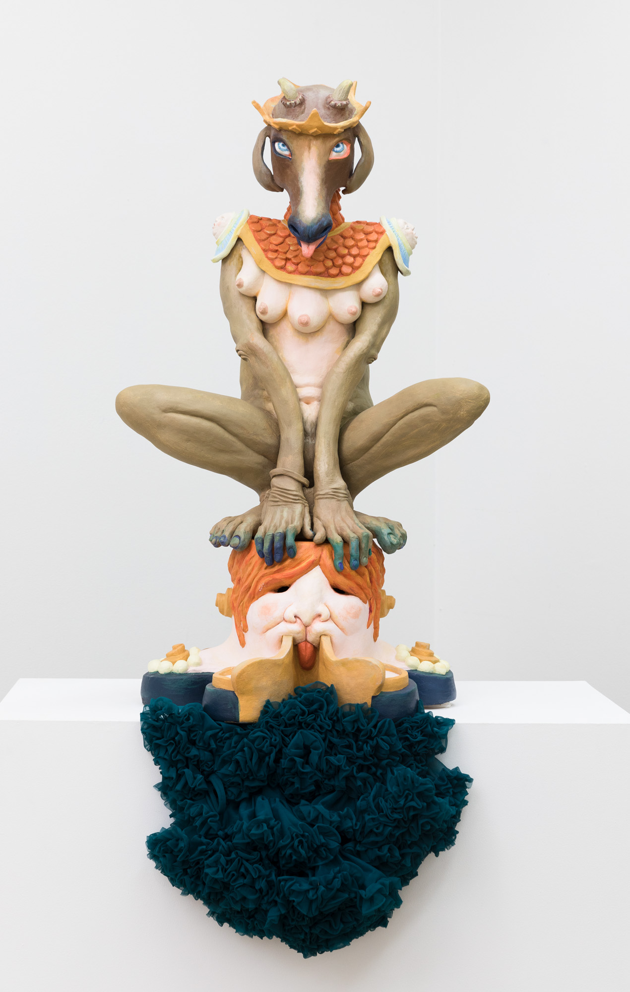 Sybil Sphinx, 2017, hand-built ceramic, oil paint, found textile