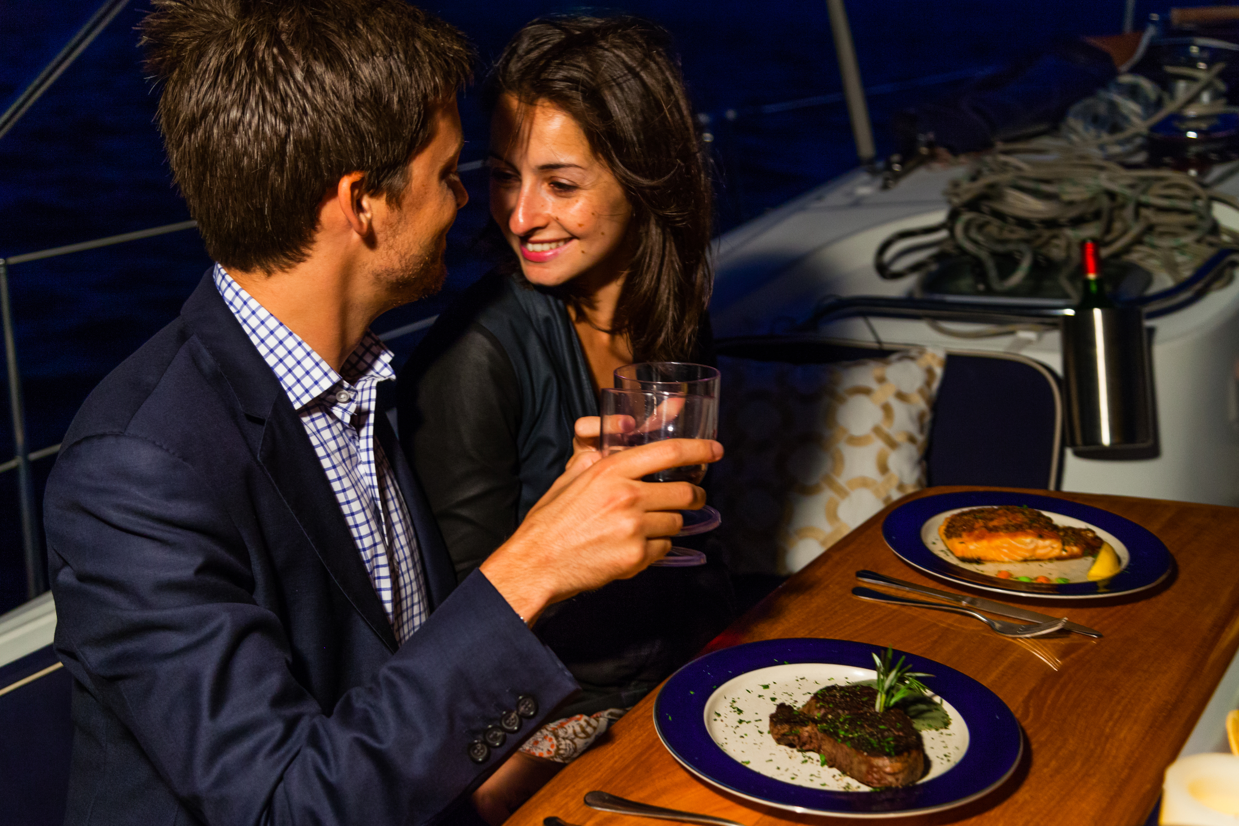romantic private boat dinner
