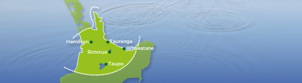 The area we cover; Waikato, Coromandel, Bay of Plenty and King Country.