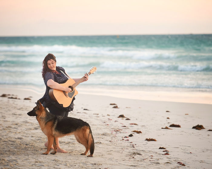 Dog photo guitar beach