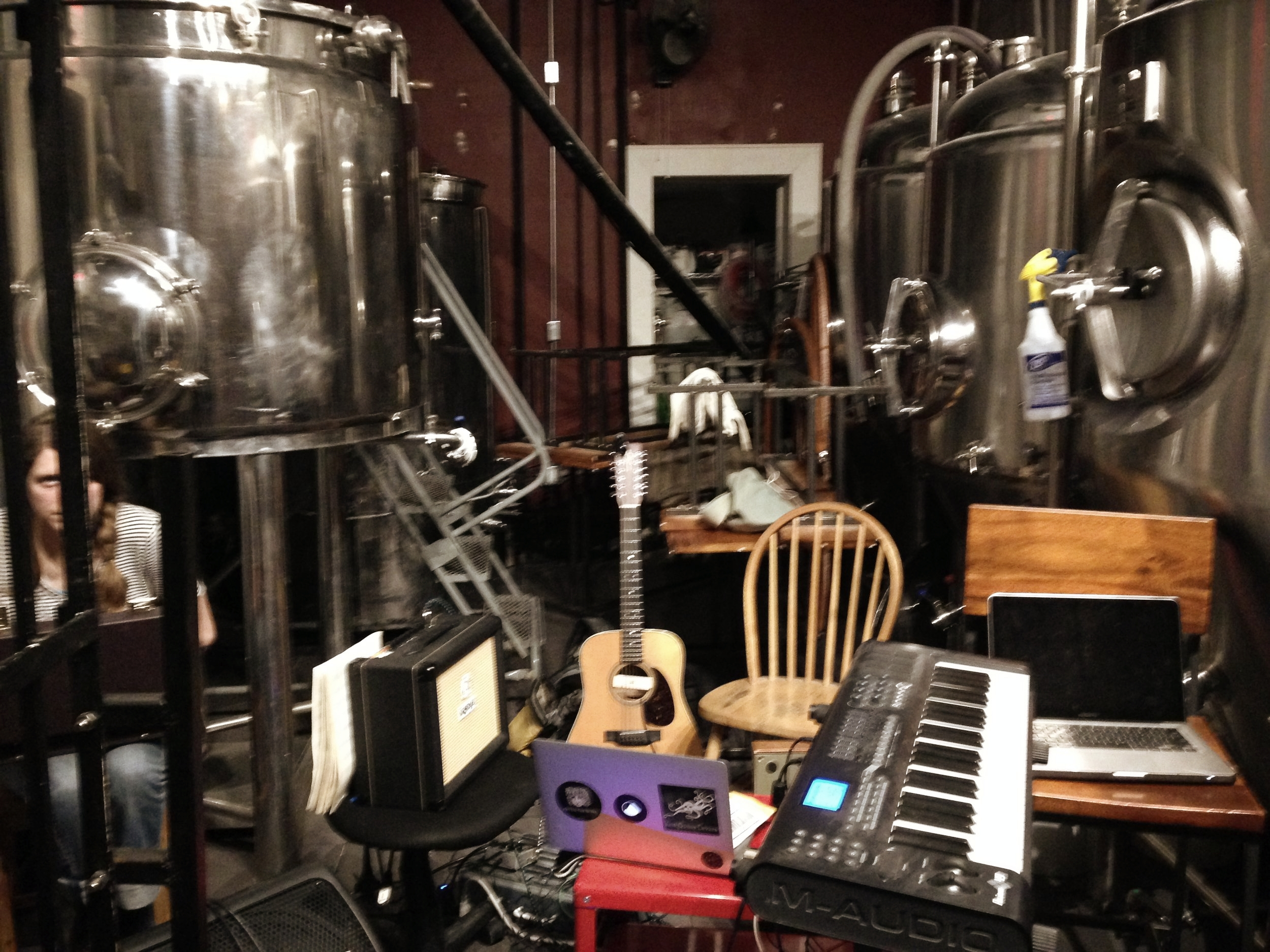 """The scene behind the screen: the """"orchestra pit"""" for the debut of  Solhund  at Crime &Punishment Brewing Co."""