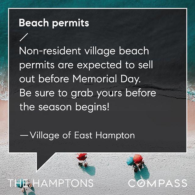 When I stopped by East Hampton Village Hall on Friday there were still some beach passes left! Don't delay #easthampton • • • • #sagaponack #eastend #hamptons #longisland #easthampton #southampton #bridgehampton #wainscott #sagharbor #watermill #noyack #amagansett #montauk #hoveyritcheyteam #milliondollarlisting #realestate #agentsofcompass #compass #beach #hamptonsbeach