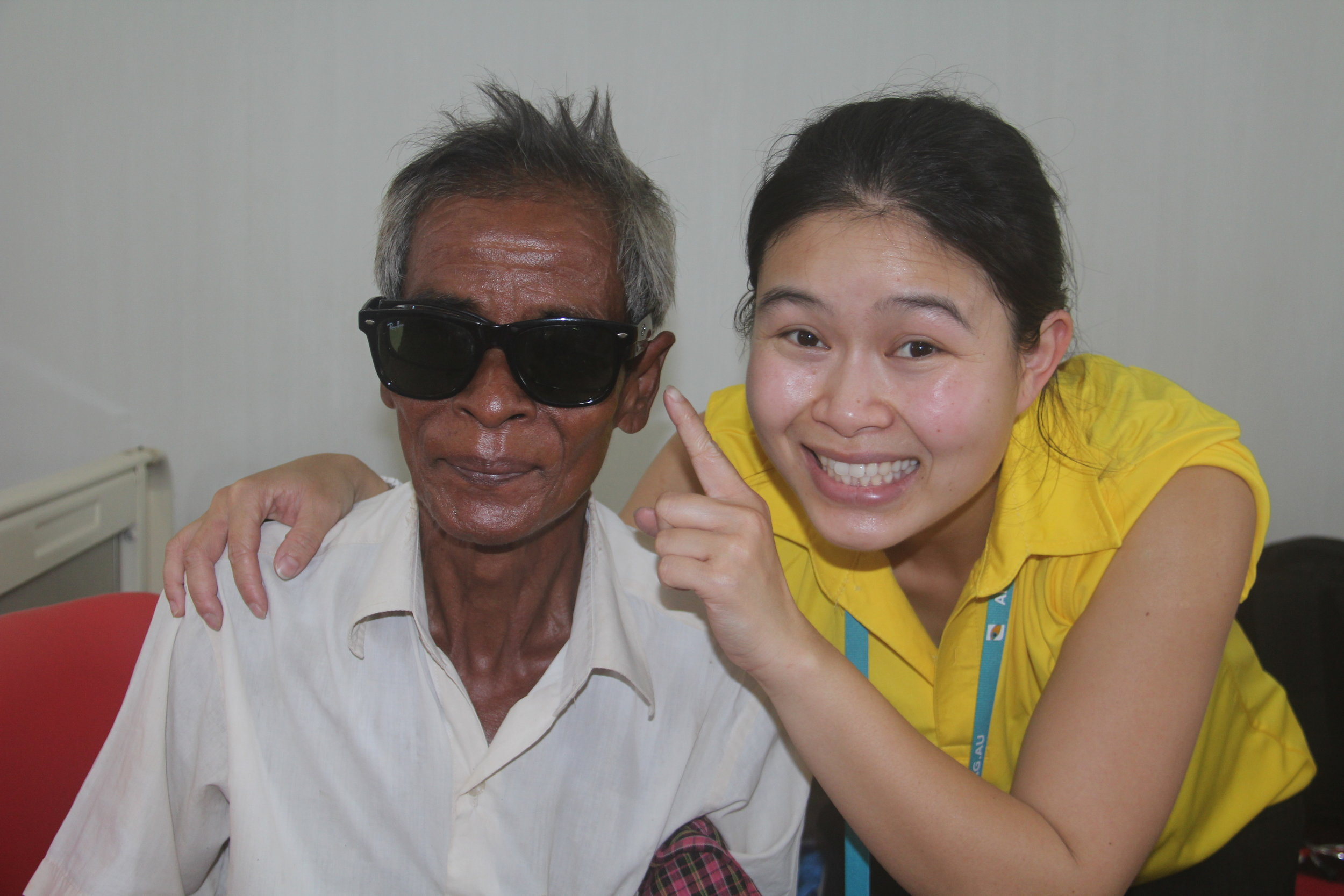 A happy patient after cataract operation