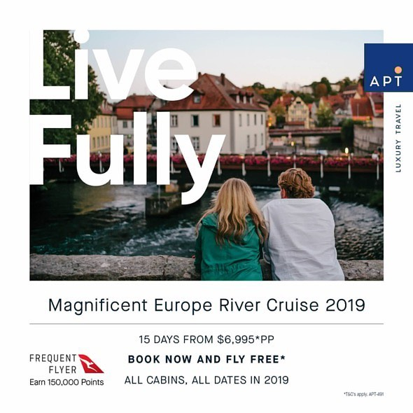 MAGNIFICENT EUROPE FROM $6995*pp  Book an eligible 2019 departure with APT and you can earn a breathtaking 150,000 Qantas Points* on European river cruises  Contact KCM Travel 9439 9666 or info@kcmtravel.com.au