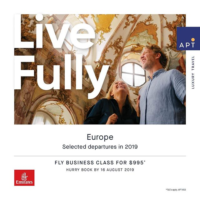 Fly Business Class for $995* 🥂  Available on APT Magnificent Europe & Balkans departures from August to November 2019 in all cabin types.  Hurry! Book before 16th August to secure your cabin!