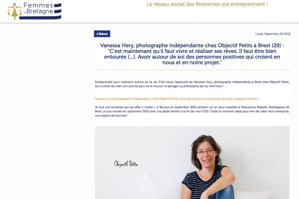 Interview Femmes de Bretagne, le réseaux social des bretonnes qui entreprennent | Objectif Petits, Photographe de bébés, enfants et familles à Brest