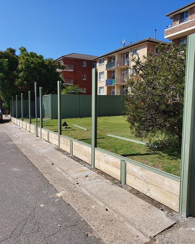 1.8 High New Style Colorbond Fence with Intermediate sleeper posts. Brick wall take down prior to install. #fencemagic #fences #gates #gramline #steel #aluminium #clisdellsstratamanagment #strata #sutherlandshire #stgeorge #homeinspo #homedecor #homeimprovement #construction #building