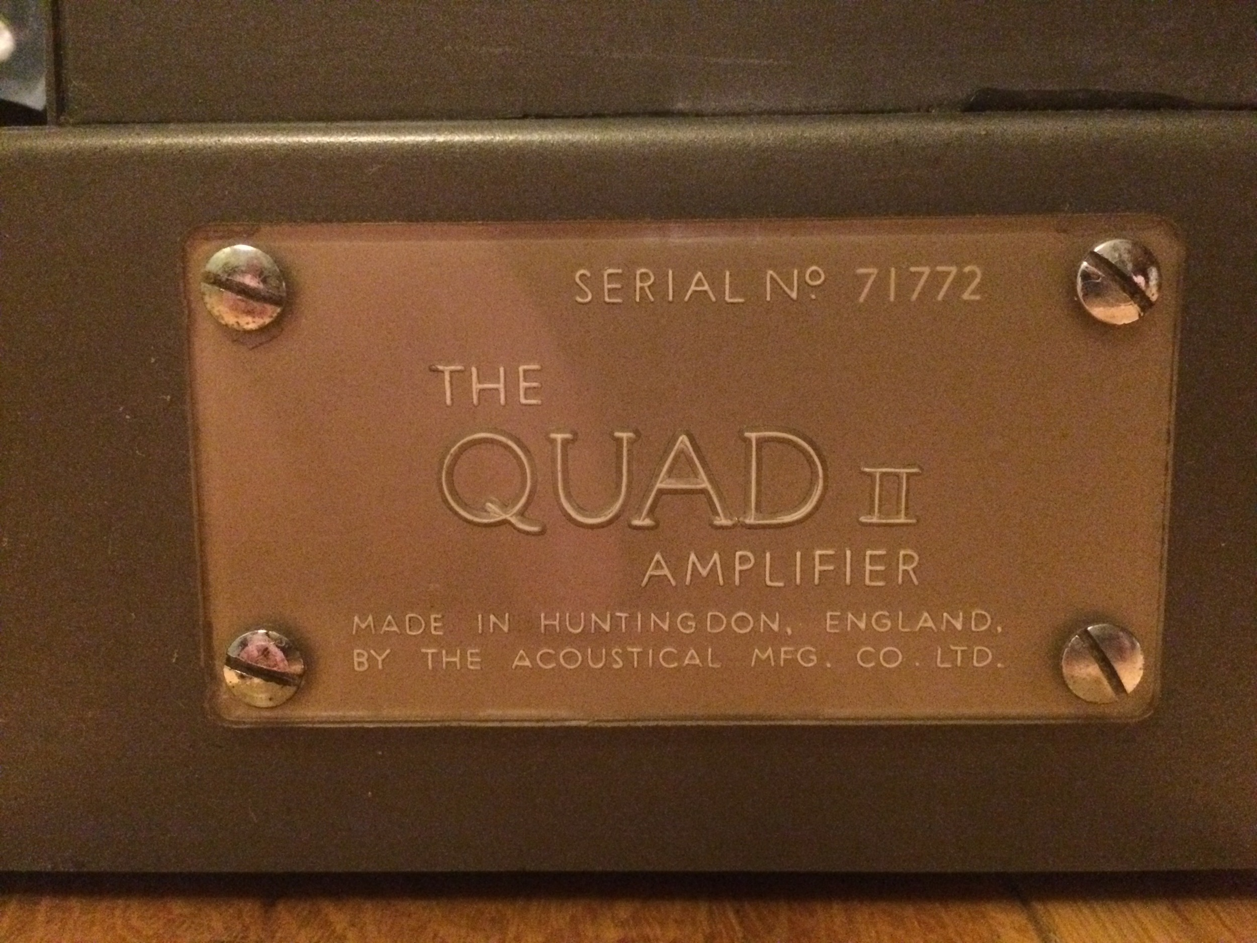 The Quad plaque, including serial number