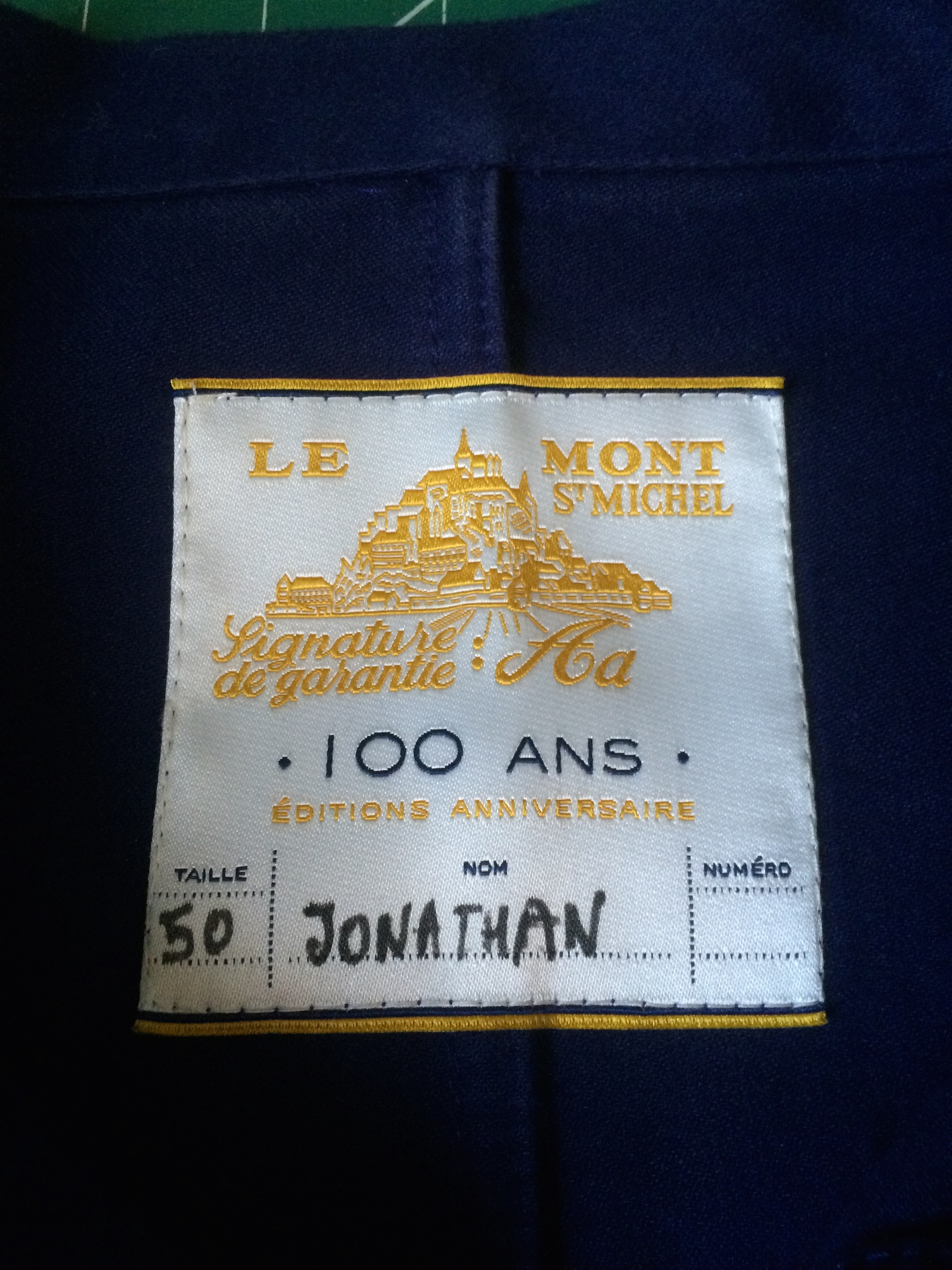 Like your mum did, Le Mont St Michel write your name on the label, just in case you lose it.