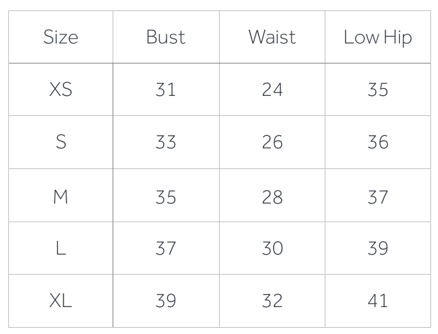 Measurement Size Guide (Inches)
