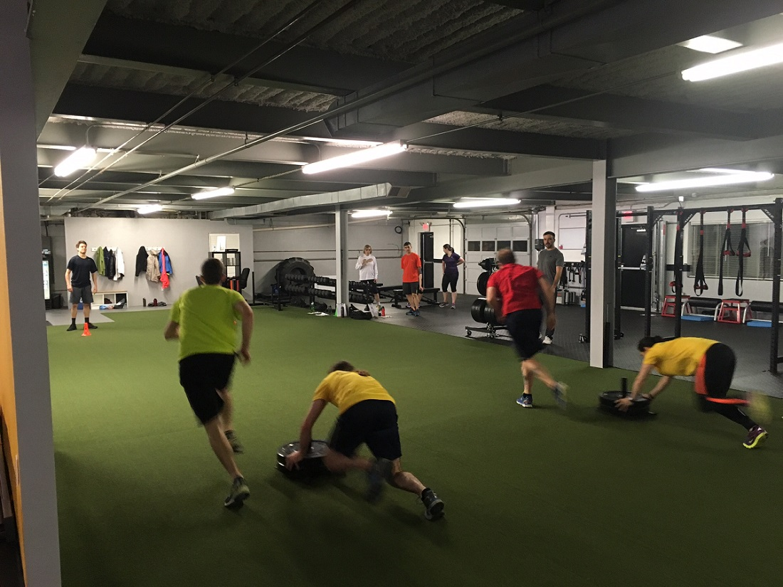 End of workout sled races getting competitive!