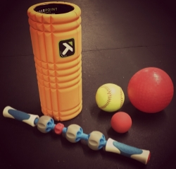 Pictured: Trigger Point Roller, Add-A-Day, Softball, LAX ball and 5 inch ball