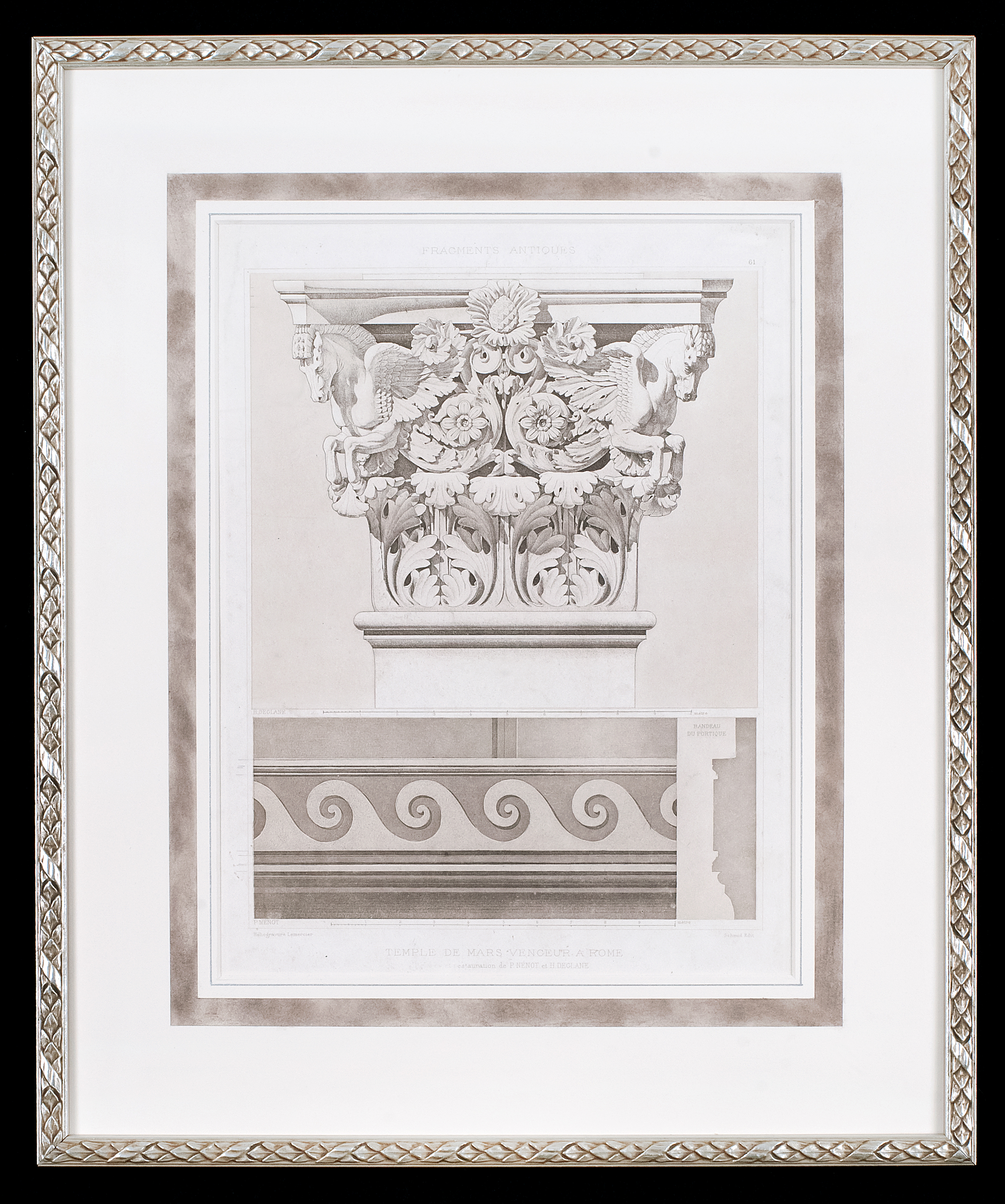This antique architectural design print is hinge mounted to a rag mat that has been hand painted with a decorative panel. Museum glass both protects the print from ultra violet light and is anti- reflective allowing for clear viewing. The frame is silver with an antique pattern.   Photo Credit: Elizabeth LaJeunesse  .