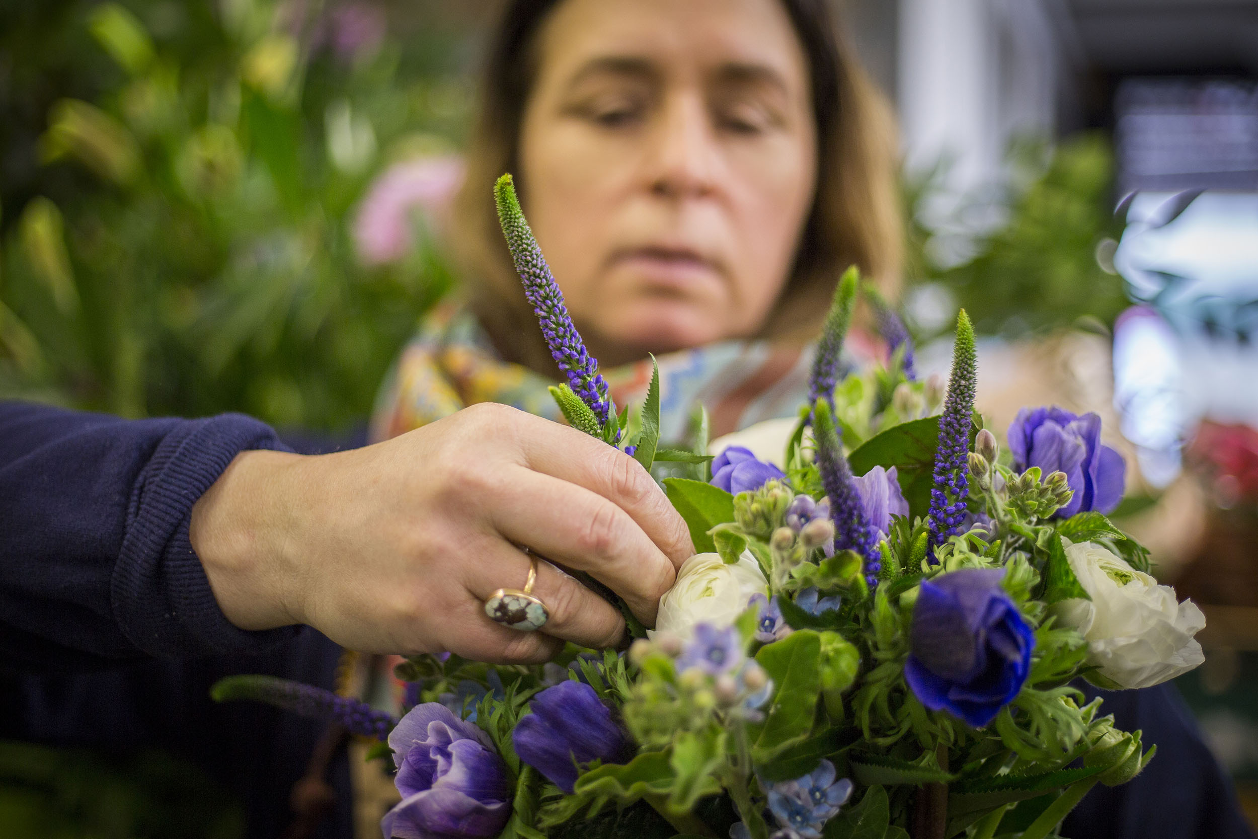 Florist Amanda Walgrave photographed at New Covent Garden flower market