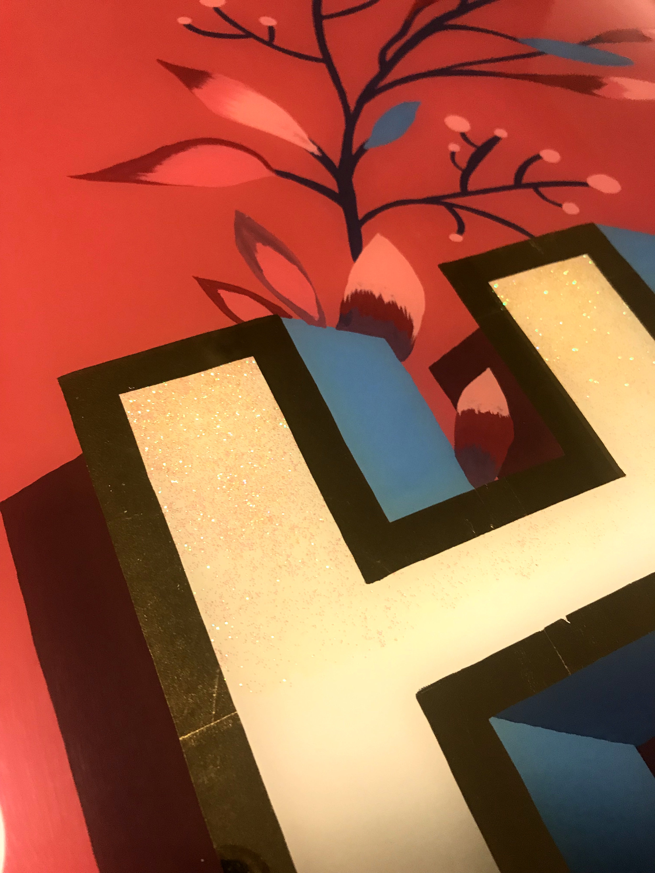 """H & C"": Wedding Present, Glass Gilding, Lettering, Hochzeitgeschenk, Vergoldung, Hinterglasmalerei, Schriftmalerei"