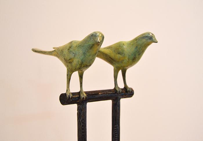 Two Birds ( detail), 2010 Bronze, steel Unique 64 x 9 x 9 inches