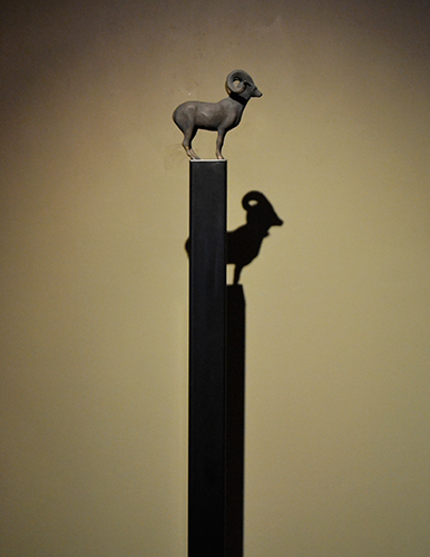 Mountain Sheep Maquette Stand,  2005 Bronze on steel base, Edition of 9 68 x 12 x 12 inches